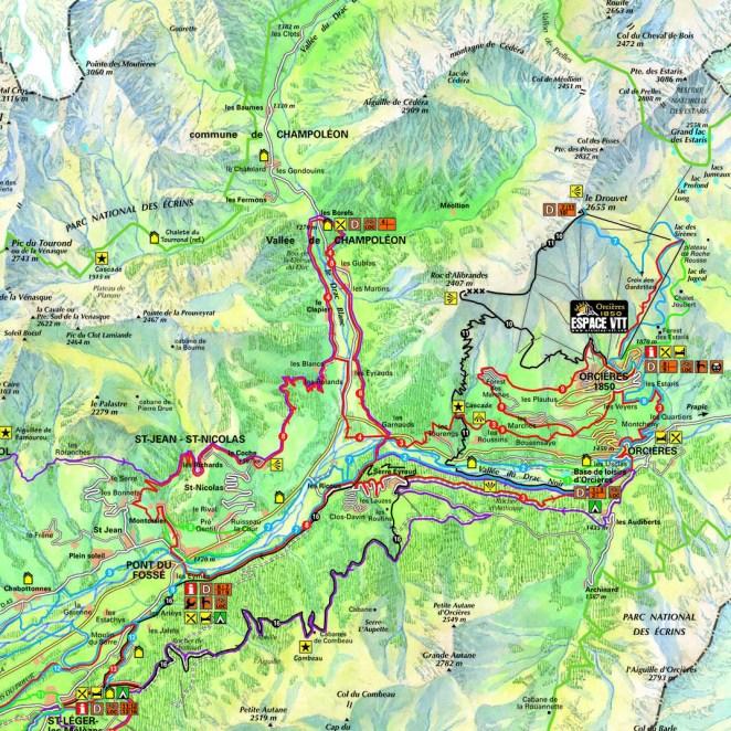 Carte itinéraires VTT Champsaur (05) - extrait