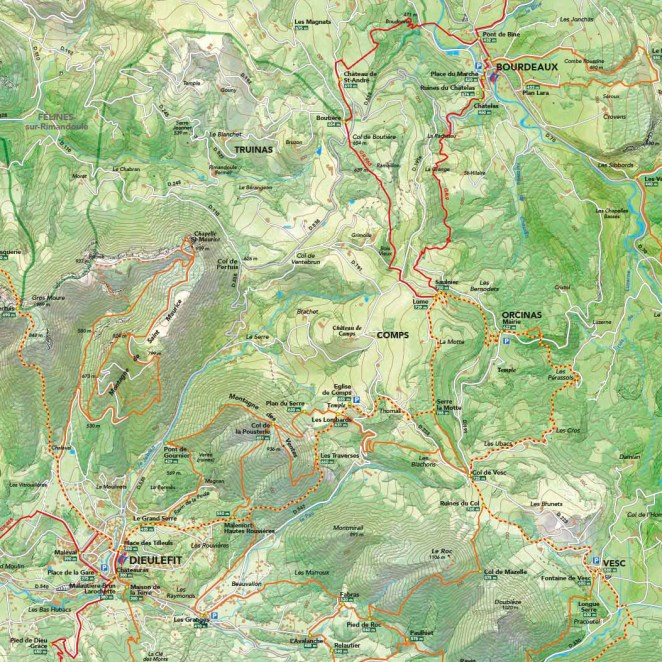 Carte rando Pays de Dieulefit-Bourdeaux (26) - extrait