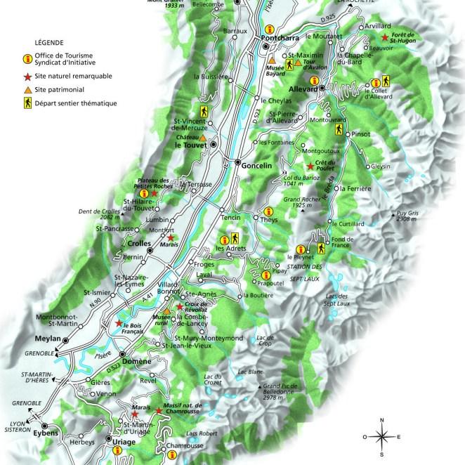 Carte touristique Grésivaudan (38)