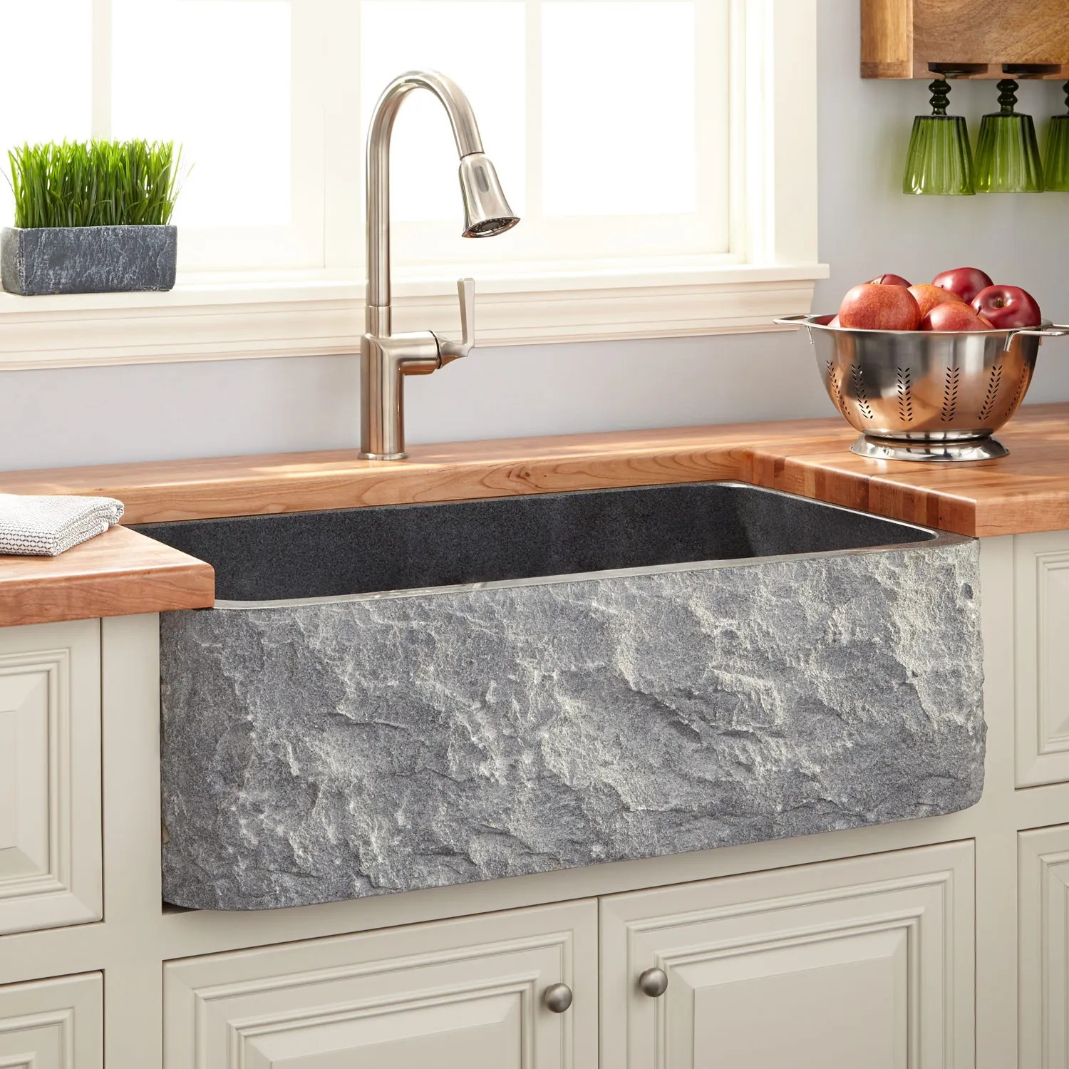 stone kitchen sinks granite kitchen sinks 33 Polished Granite Farmhouse Sink Chiseled Apron Blue Gray