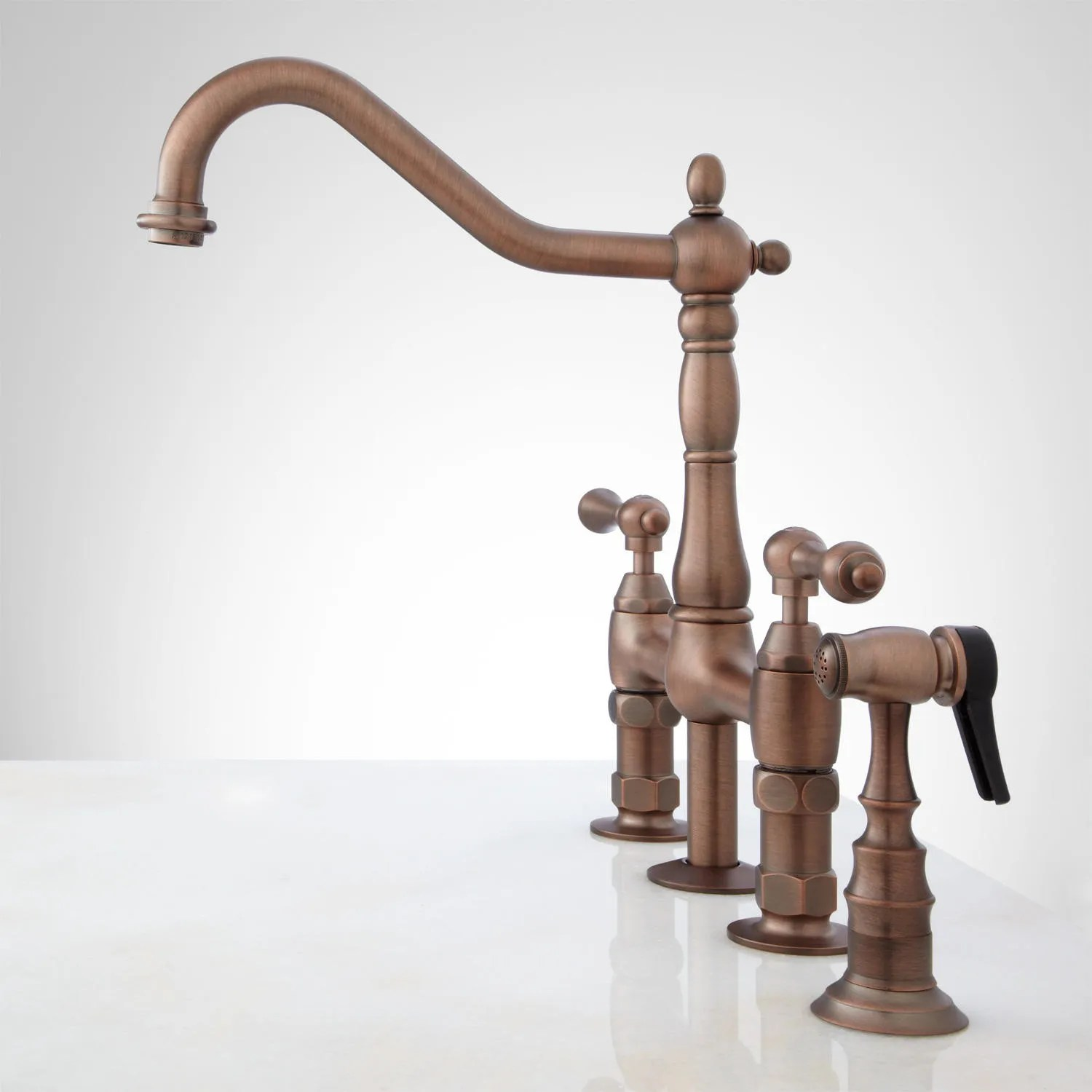 bellevue bridge kitchen faucet with brass sprayer lever handles kitchen faucet bronze Oil Rubbed Bronze Side