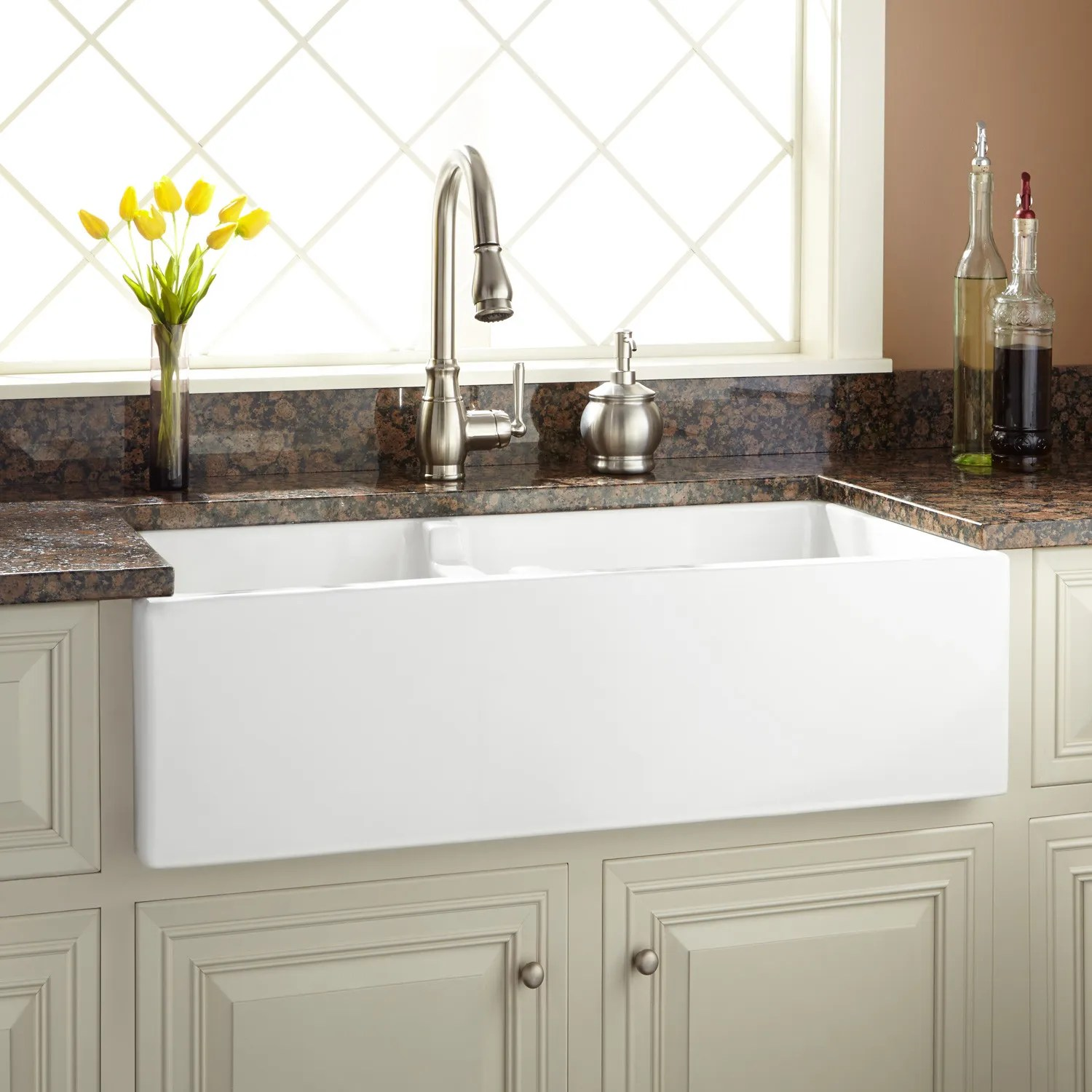 36quot Risinger 60 40 Offset Bowl Fireclay Farmhouse Sink