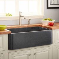 "36"" Polished Granite Farmhouse Sink - Blue Gray - Kitchen"