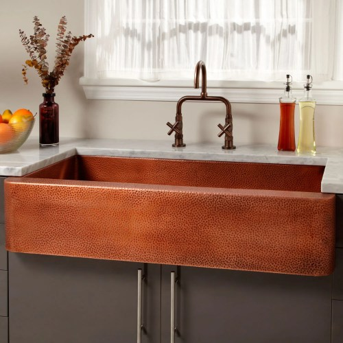 42 fiona hammered copper farmhouse sink kitchen sink sizes The generous depth and size of this grand sink make it suitable for larger gourmet kitchens Its lustrous copper patina brings delight each time you use it