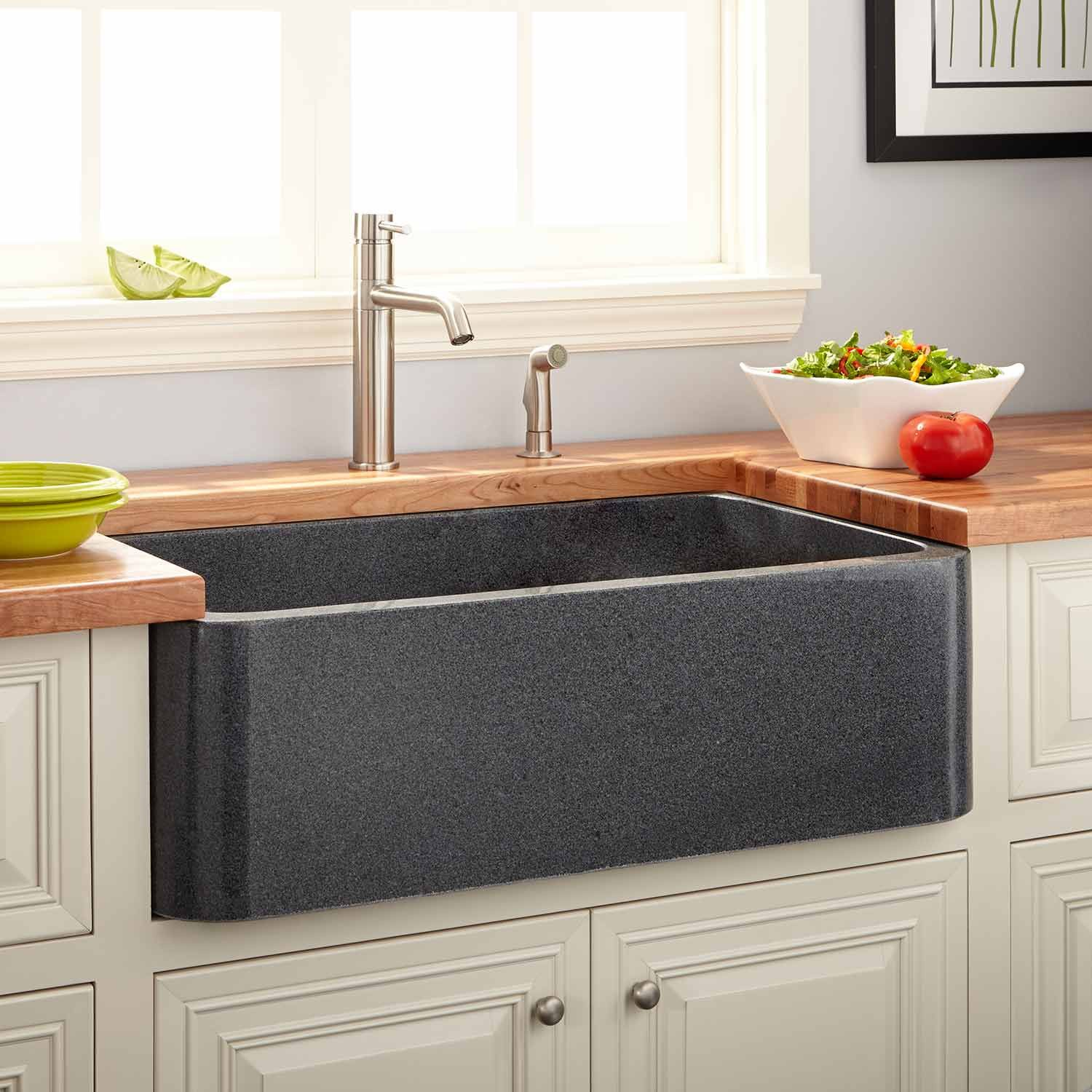 36 polished granite single bowl farmhouse sink blue gray granite kitchen sinks granite the 36 Farmhouse Sink brings classic beauty to your kitchen Featuring a sizable bowl this product is perfect for rinsing pots and pans