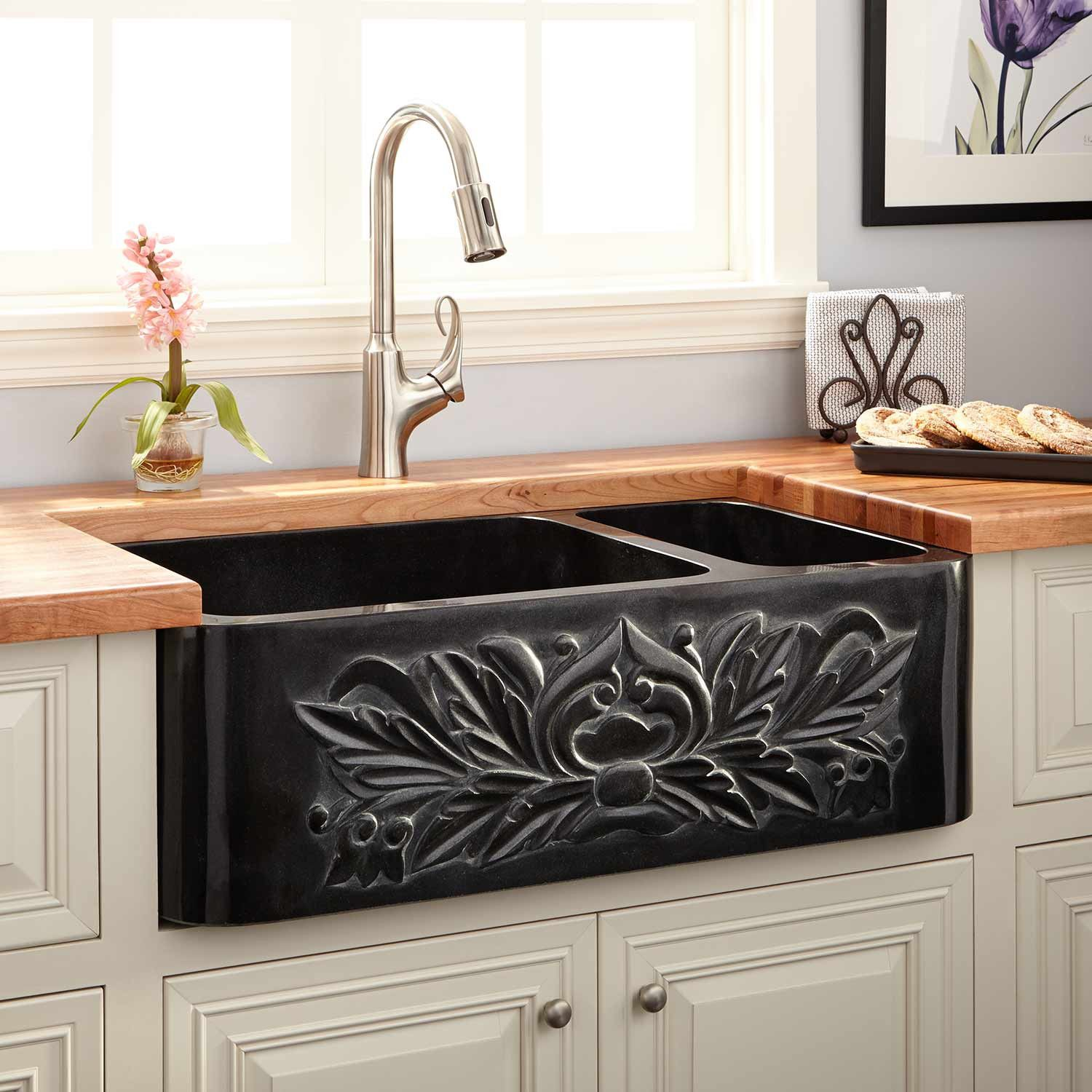 33quot Ivy 70 30 Offset Double Bowl Polished Granite