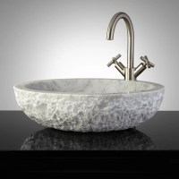 Oval Chiseled Marble Vessel Sink
