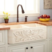 "33"" Ivy Polished Marble Double-Bowl Farmhouse Sink - Cream ..."