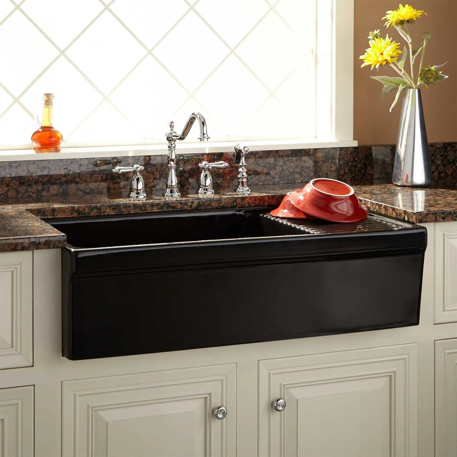 36quot Gallo Fireclay Farmhouse Sink With Drainboard Black