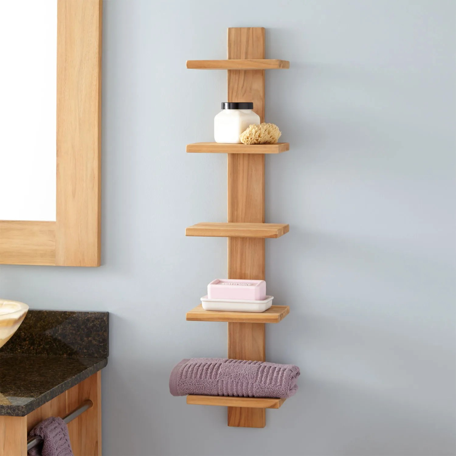 Soothing Conditions That Often Occur A Durable Wood That Is This Product Is Made Bastian Hanging Bathroom Teak Shelf Five Shelves Bathroom bathroom Hanging Shelves In Bathroom