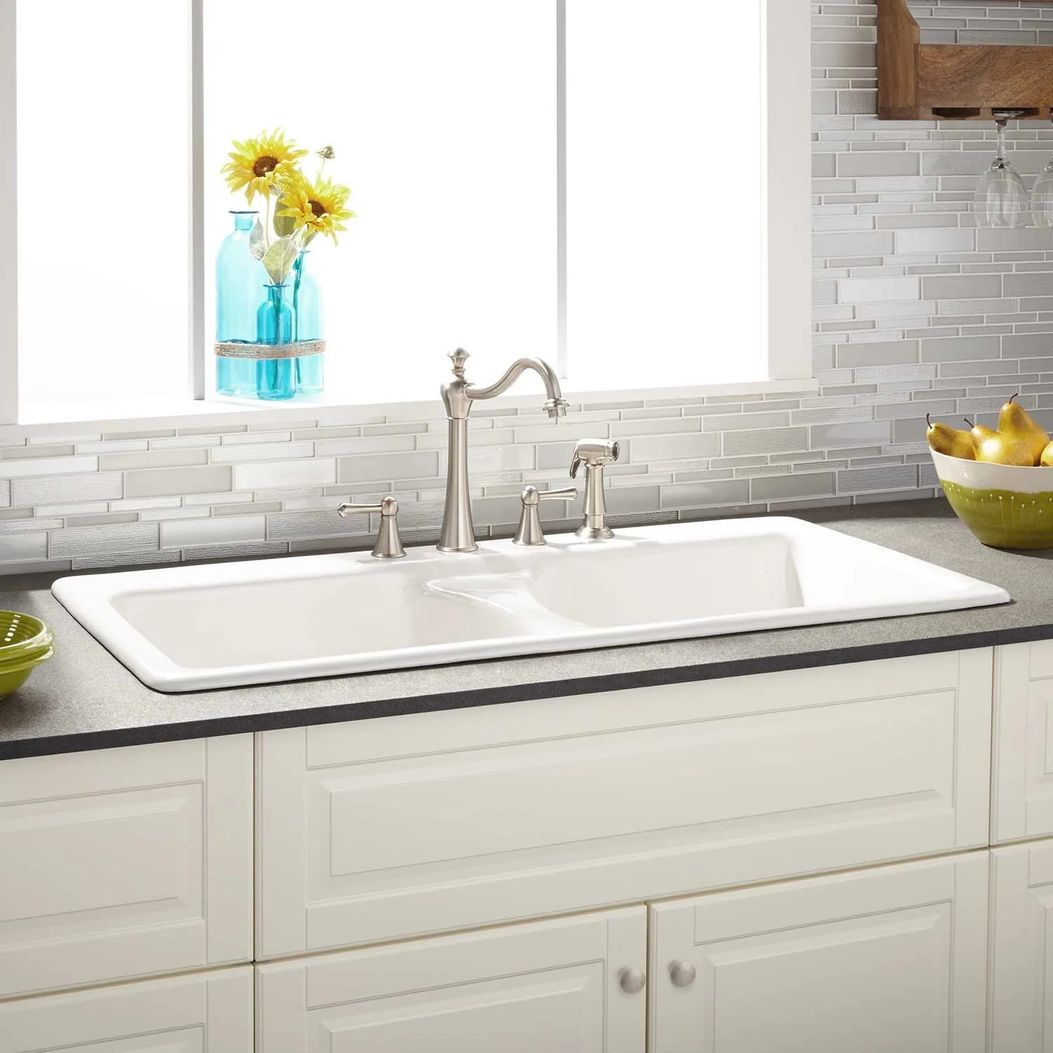 470175 43 double bowl cast iron drop in kitchen sink 8 inch widespread white