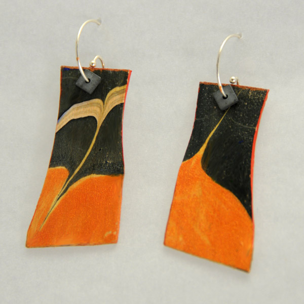 Sholeh Regna, Reversible Marbled Birch Earrings