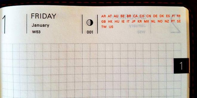 Header of the daily layout pages in the Hobonichi.