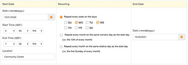 Genius Hack Create a Recurring Event Sign Up