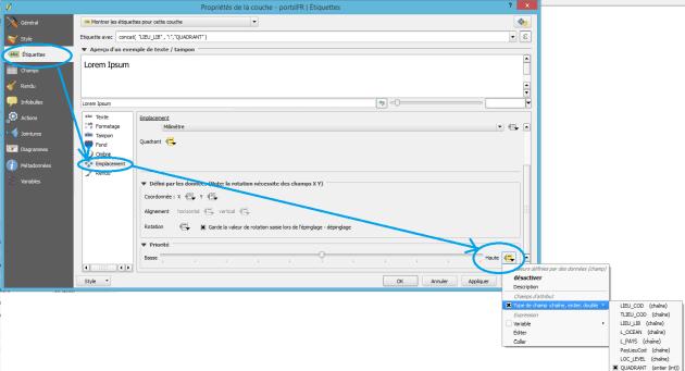 configuration de la priorité des étiquettes à partir des données dans qgis 2.12