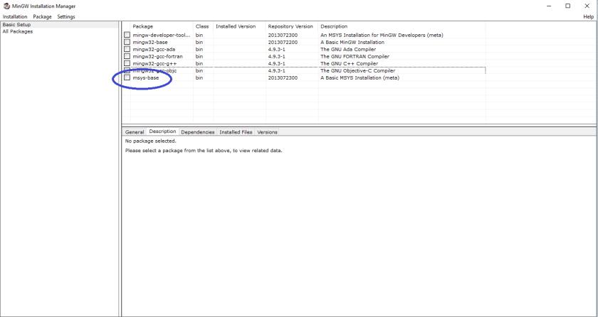 modules complémentaires de mingw, avec msys