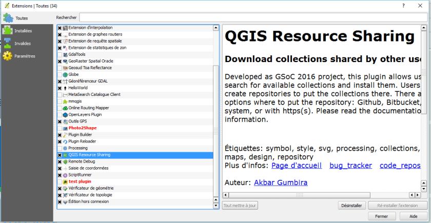 installation, du plugin Resource Sharing dans QGis
