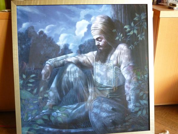 Guru Gobind Singh ji Painting - Sikh Art by Artist Bhagat Singh - Collection of Keith Muir