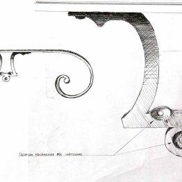 Skiss till klassiskt Trappräcke i järn och mässing