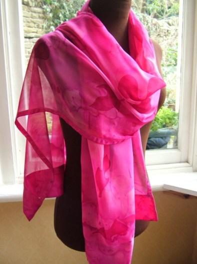 silk chiffon scarf hand painted fuchsia pink silk shawl silk wrap fionastolze silkandart