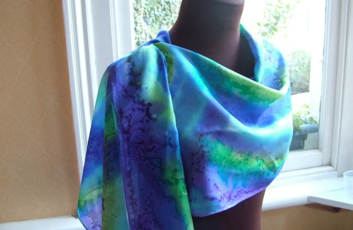 women's clothing silk wrap shawl purple and blue handpainted silk scarf fionastolze silkandart