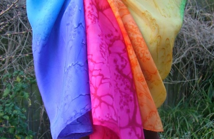 rainbow silk scarf hand painted silk shawl wrap colour therapy fionastolze silkandart