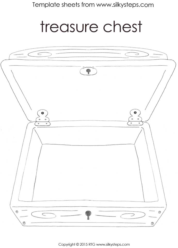 Upright open lid outline treasure chest template