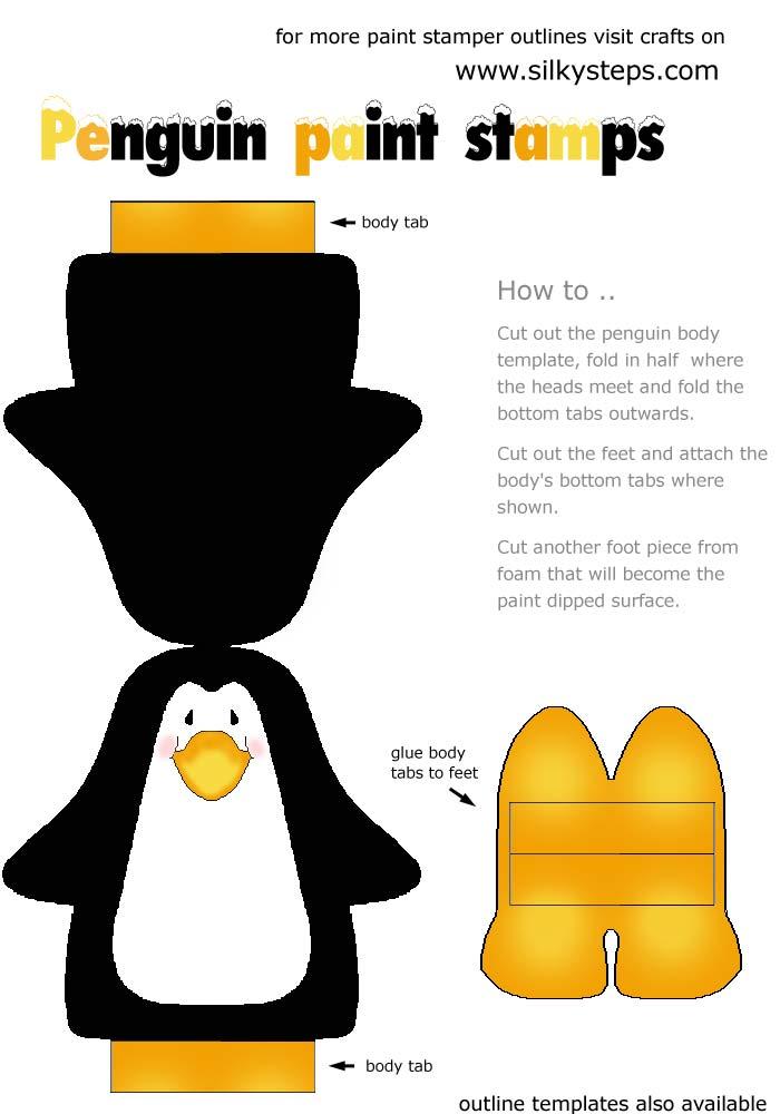 Penguin paint stamper pattern template