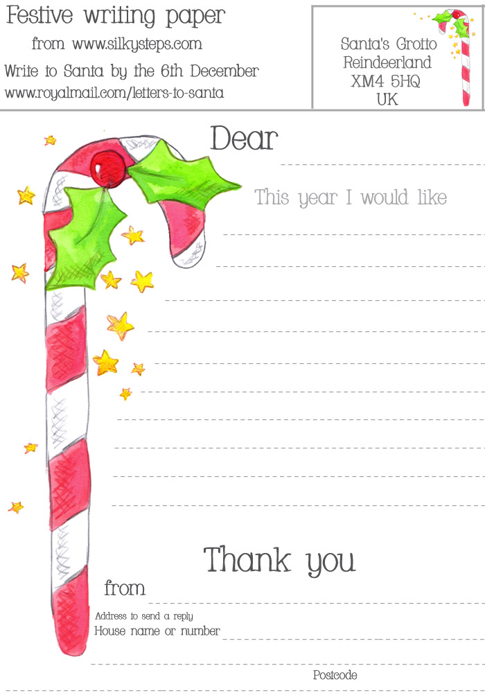 Free letter to Santa - wish list writing paper to send to Father - christmas wish list paper