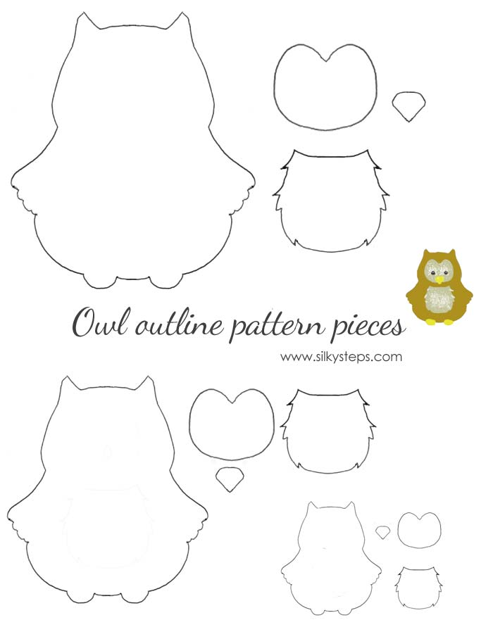Owl outline pattern template - drawing printable