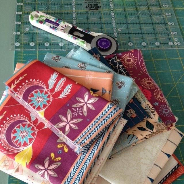 Cutting into my maureencracknell fleetandflourishfabrics today! Excited to begin thishellip