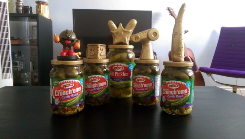 2nd Annual Pickle Trophies - Left to right: Smash 4 (+Amiibo prize), Mario Party 10, Pickle Spirit, Mario Kart 8, Mascot Drawing.