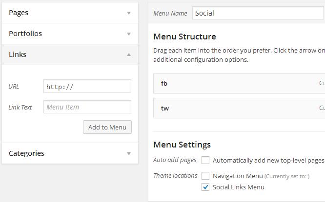 iconos sociales como menu en WordPress