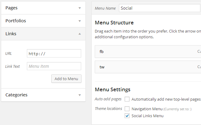 iconos sociales como menu en WordPress