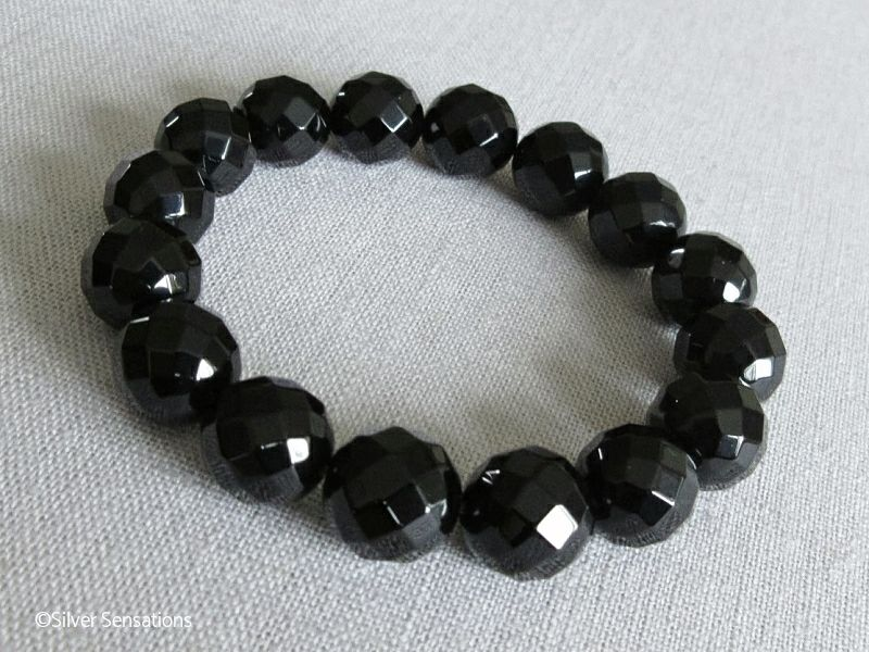 Faceted Chunky Black Onyx Beaded Stretch Bracelet Silver