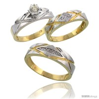 Gold Plated Sterling Silver Diamond Trio Wedding Ring Set ...