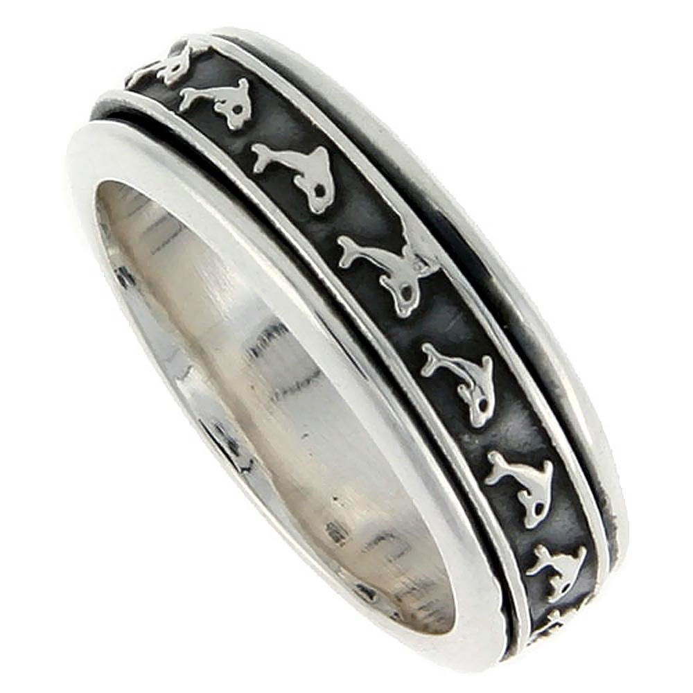 home dolphin wedding rings Sterling Silver Men s Spinner Ring Embossed Dolphin Pattern Center Handmade 5 16