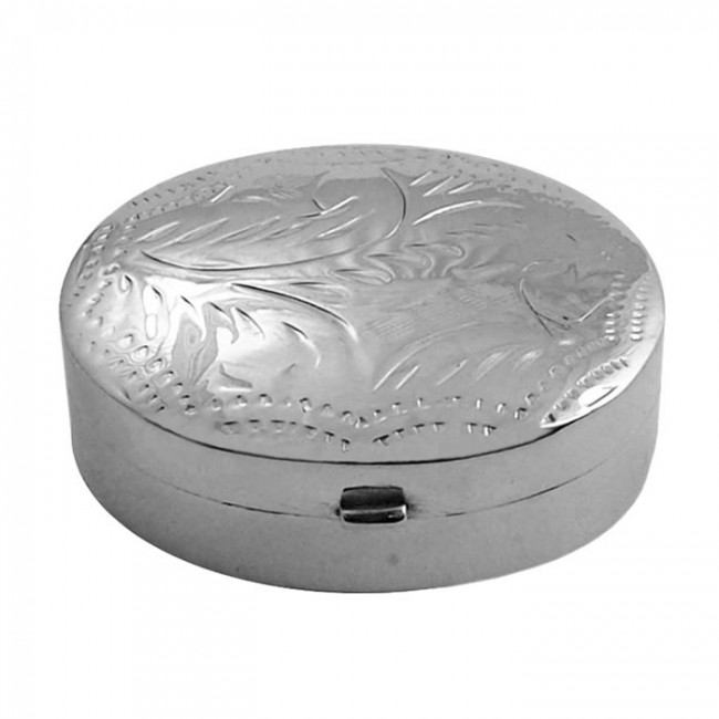 Sterling Silver Oval Patterned Engraved Pill Box