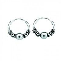 Sterling Silver Small Indo Hoop Earrings