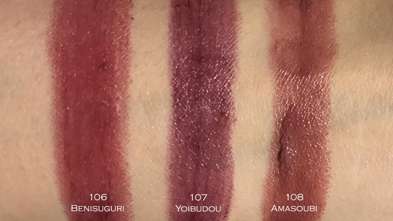 SUQQU Christmas 2017 Extra Glow Lipsticks swatches