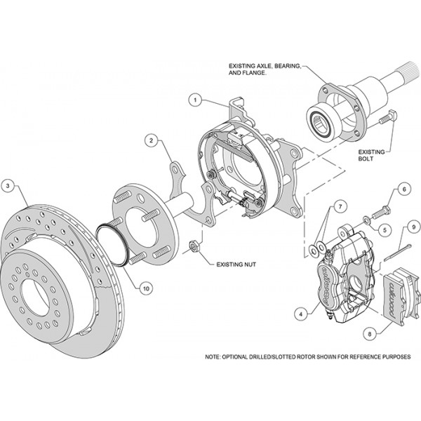 FORD 9 INCH REAR END BRAKE KIT WILWOOD 4 PISTON CALIPERS 1219 INCH