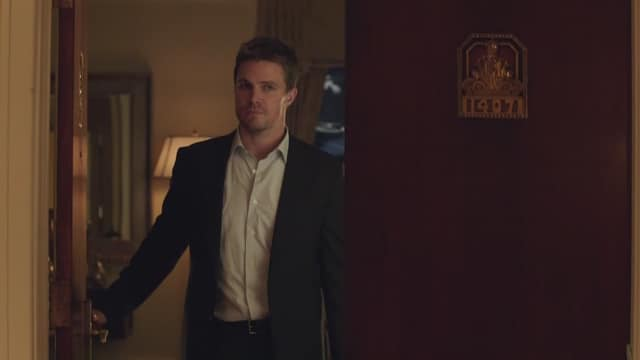 Oliver's face after Felicity walks away.