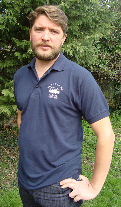 Polo shirt with embroidered logo silver screen tees t for Work polo shirts with logo