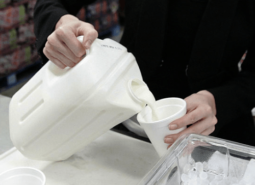 "The New ""square\"" milk jug in action. Photo from The New York Times"