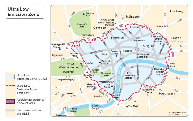 TfL's Ultra Low Emission Zone map
