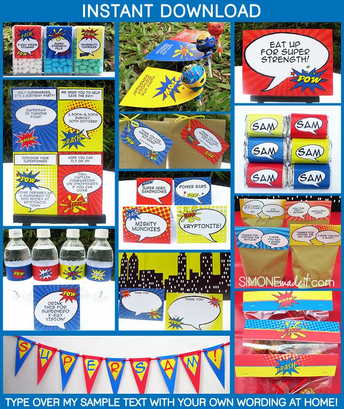 Superhero Birthday Party Invitations  Decorations