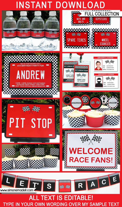Race Car Party Printables, Invitations  Decorations