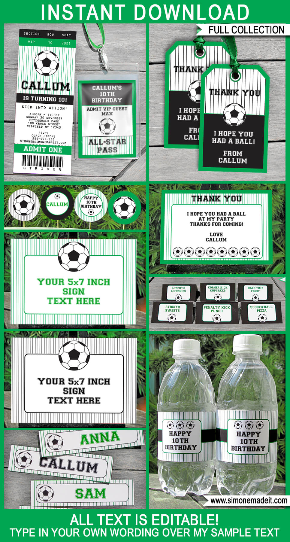 Soccer Party Printables, Invitations  Decorations