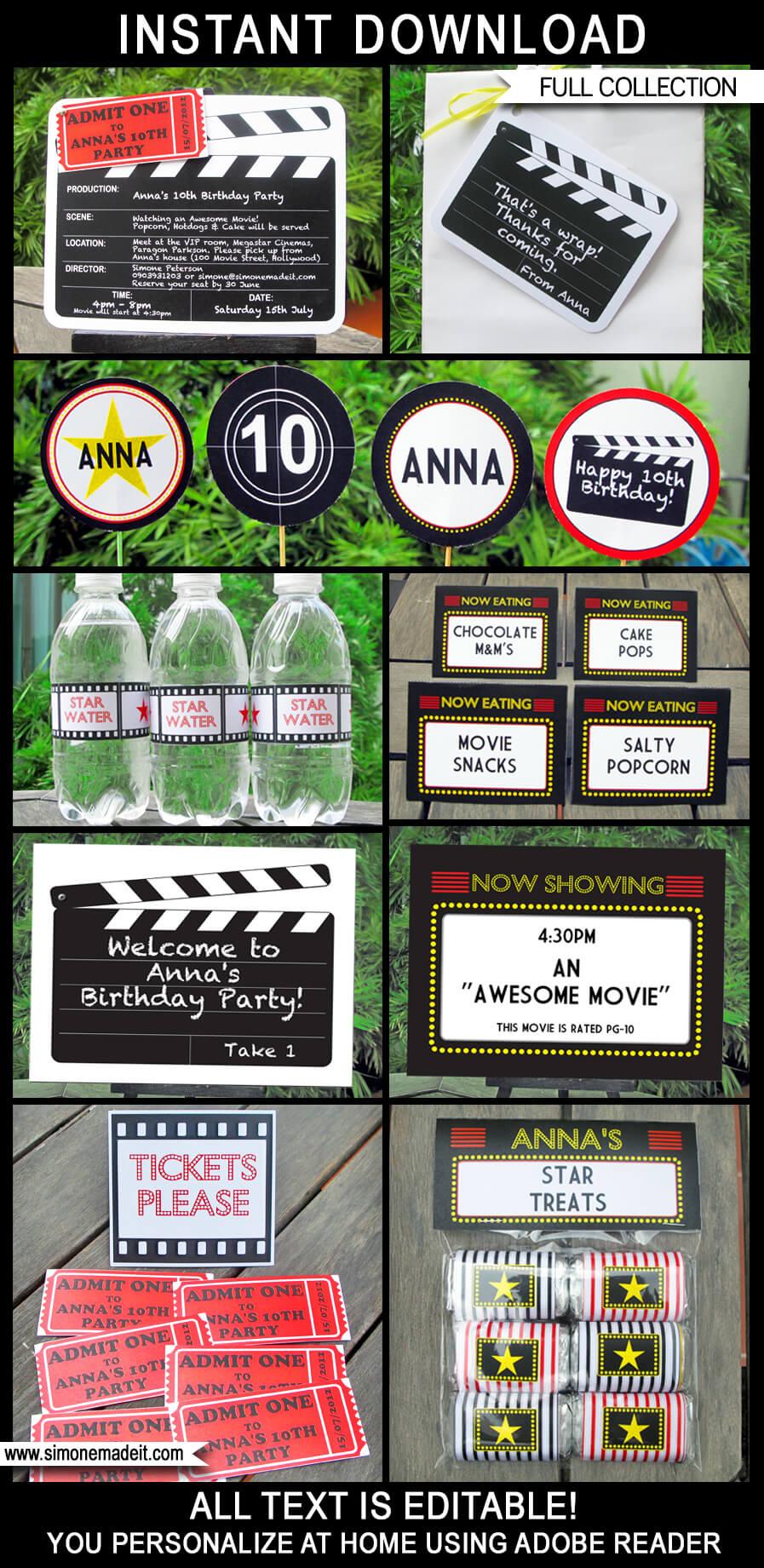 Movie Party Printables, Invitations \ Decorations - movie themed invitation template