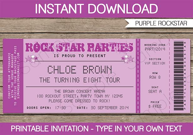 Rockstar Birthday Party Invitations Printable Decorations - concert ticket birthday invitations